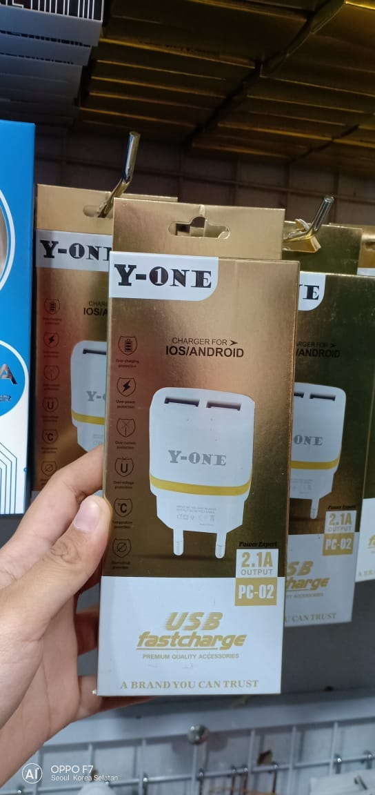 TRAVEL CHARGER Y-ONE PC 02 OUTPUT2 USB  2.1A REALL