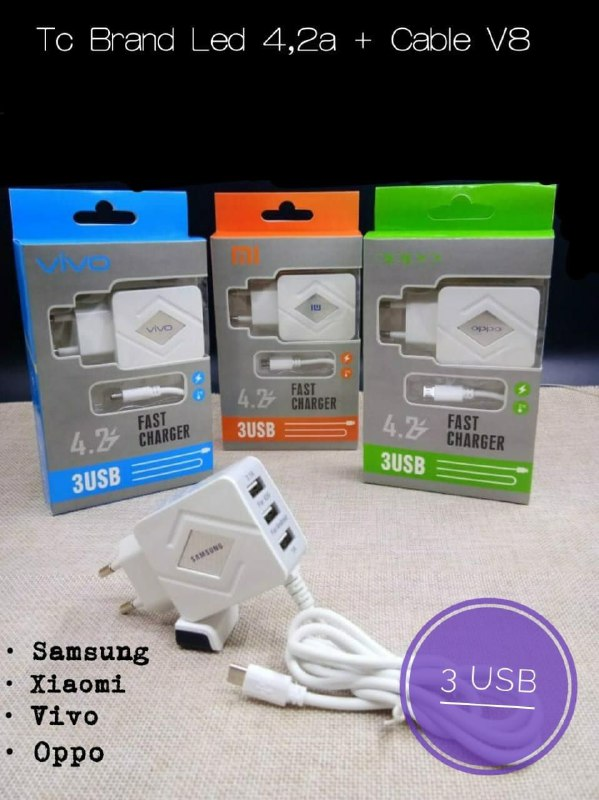 TRAVEL CHARGER BRAND LED 3 USB + KABEL  OUTPUT 4.2A SAMSUNG, XIAOMI, VIVO, OPPO