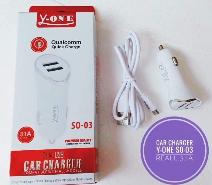 SAVER Y-ONE 2 USB + KABEL SO 03 PACKING KARDUS  ISTIMEWA  REALL OUTPUT 3.1A
