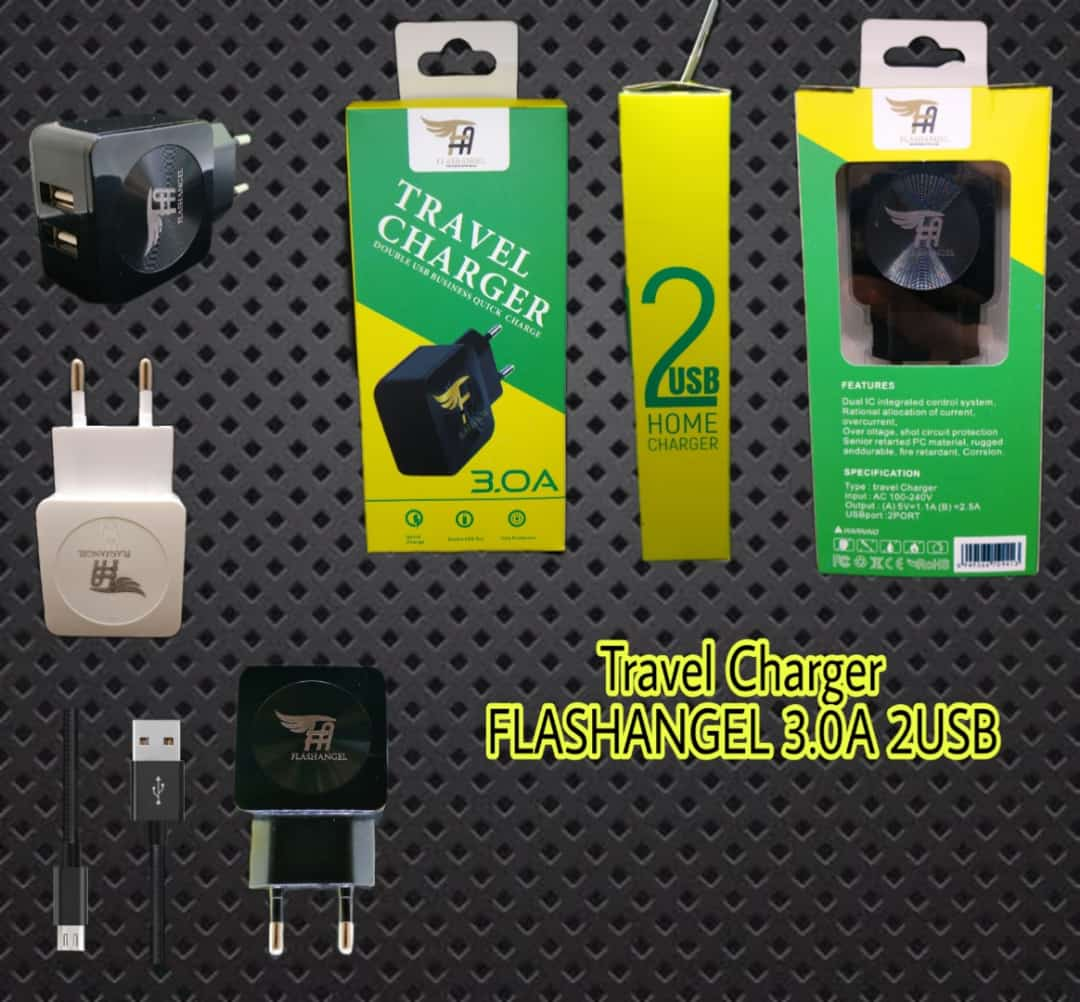 TRAVEL Charger FLASHANGEL 3.0A 2USB